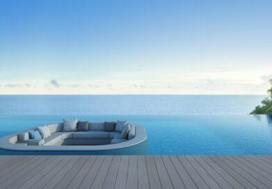 Sofa, Terrace And Swimming Pool In Luxury Sea View Hotel 3d Rendering